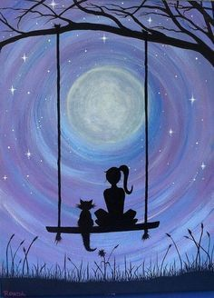 A Girl and her Cat (PRINT) A girl and her cat. Sure to capture the hearts. In this dreamy, heartfelt silhouette of a girl and her cat sitting on a swing under the majestic full moon, get lost. My cat Kickick inspires my art. She was my first experience of Painting Inspiration, Art Inspo, Cat Sitting, Cat Art, Painting & Drawing, Swing Painting, Moon Painting, Painting Tattoo, Heart Painting