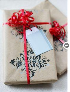 stencil gift wrap