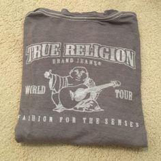 grey true religion vneck lightweight grey true religion vneck. goes with everything. minor polling still in great condition True Religion Tops Tees - Long Sleeve