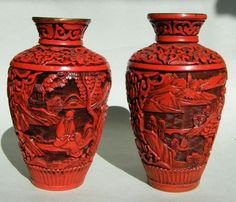 Pair Chinese Cinnabar Lacquer Miniature Vases