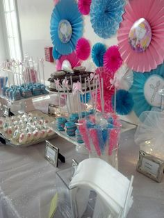 Pink and blue candy buffet.