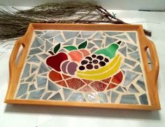 Mosiac Tray with Stained Glass pieces to form a Bowl with Fruit, Trays Stained Glass Items, Mosaic Items, Christmas presents by StainedGlassandPens on Etsy Mosaic Tray, Mosaic Glass, Stained Glass, Summer Crafts, Diy And Crafts, Fruit Trays, Glass Photo, Christmas Presents, Decoupage