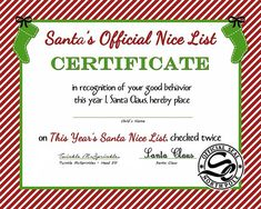 FREE Santa's Official Nice List Certificate (Printable) thedailygoodiebag...