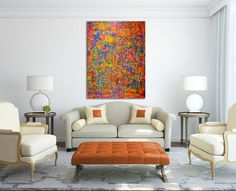 Vibrant and very detailed piece with bold color blending, lots of drips and big palette knife strokes...Pretty much everything I love in a painting!!!  This painting conveys motion and energy as we...