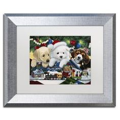 """Trademark Art """"Curious Christmas Pups"""" by Jenny Newland Framed Graphic Art Size: 11"""" H x 14"""" W x 0.5"""" D"""