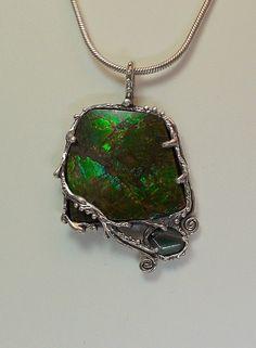 Ammolite tourmaline sterling silver by JoseePoulinjewelry on Etsy, $355.00