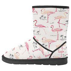 56dd9c3d5daade InterestPrint Women's Snow Boots Unique Designed Comfort Winter Boots Size  8 Flamingo Bird