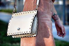 Waved Edged Stud Embellished Shoulder Bag