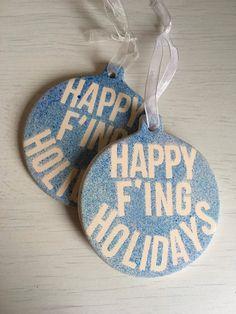 Rude tree decoration, humbug decoration, happy holidays, ceramic bauble by phoenixandthecub on Etsy Tree Decorations, Happy Holidays, Ceramics, Bauble, Christmas Ornaments, Personalized Items, Holiday Decor, Unique Jewelry, Handmade Gifts