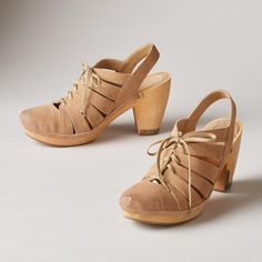 """CALI SHOES--Take the streets by storm in these vintage-inspired, suede shoes. Classic, wooden style with lace-up, cutout details. Imported. Exclusive. Whole and half sizes 6 to 10, 11. 2-1/2"""" heel."""