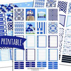 Greece PRINTABLE Planner Stickers for Erin Condren Vertical | Sticker Printables | Happy Planner Stickers | Ocean Stickers | Travel Stickers