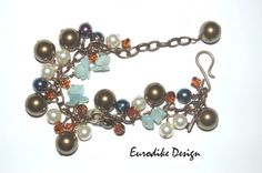 Bracelet with Swarovski Crystals and Gemstone Chips by Eurodike Design, Sweden