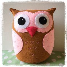 Pretty in pink owl doorstop.