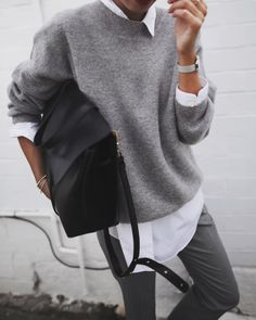 Best Casual Look - Sweater Outfits Top Fashion, Vogue Fashion, Fashion Looks, Fashion Outfits, Womens Fashion, Fashion Styles, Fall Winter Outfits, Autumn Winter Fashion, Outfits Inspiration