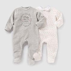 2 пижамы из велюра, 0 мес. - 3 года серый меланж + белый R Mini | купить в интернет-магазине La Redoute