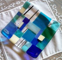 Fused Glass Plate, Modern Mosaic in Blue and Turquoise, Ocean Beach, Mosaic Beach Glass Art Slumped Glass, Fused Glass Plates, Fused Glass Jewelry, Fused Glass Art, Glass Wall Art, Glass Dishes, Mosaic Glass, Glass Bowls, Glass Fusion Ideas