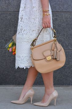 Ann Taylor Lace Dress, Spring Style, lace dress, chicago blogger, Kate Spade nude heels, coach satchel @AnnTaylorStyle