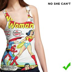 Wonder Woman tank top for ladies. This is a mockup for the crowdfunding campaign of What Heroes Wear. WHW aims at offering women superhero clothing with nice and feminine cuts.