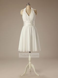 Beauty Ivory Halter Ruched Simple Cheap Custom Chiffon A-Line Short Prom Dress Bridesmaid Dress