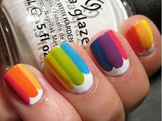 Simple, but cute nail art. Reminds me of skittles some how