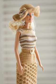 Knitted dress hat for Barbie, Brown dress hat for doll, Knitted clothes for Barbie, Gift for her Crochet Barbie Patterns, Crochet Barbie Clothes, Dress Hats, Barbie Dress, Knitted Dolls, Brown Dress, Doll Clothes Patterns, Crochet Fashion, Knit Dress