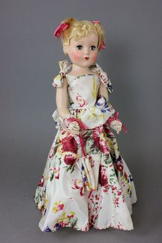 """18' R & B """"NANETTE"""" IN ORIGINAL SATIN GOWN ~ lovely original outfit includes hoop slip and gold shoes"""