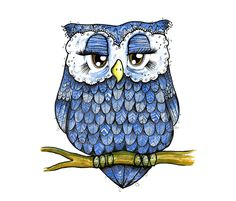 Blue Owl fabric by taraput on Spoonflower - custom fabric