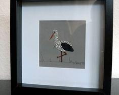 Image of pebbles - Pebble art - Stork, 25 x 25 cm, natural birth, stone collage, framed