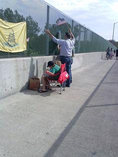 Americans protesting illegal immigration in Irvine California