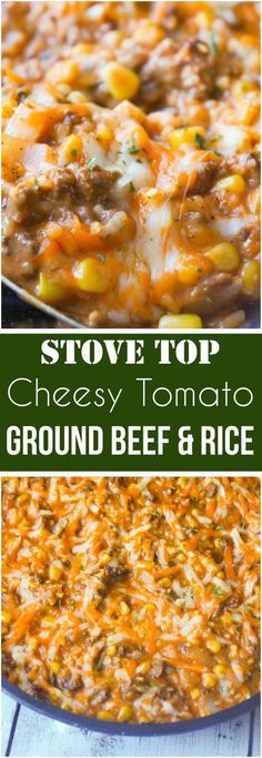 Easy dinner recipe with ground beef. This Cheesy Tomato Ground Beef and Rice is an easy stove top dinner recipe packed with flavour. This ground beef dish is made with cream of tomato soup, canned corn, instant rice and loaded with cheddar cheese. Ground Beef Rice, Ground Beef Dishes, Dinner With Ground Beef, Ground Venison, 1 Lb Ground Beef Recipe, Ground Beef Recipes Simple, Easy Ground Beef Meals, Ground Beef And Rice Recipes For Dinner, Ground Beef Recipes Skillet