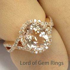 8x10mm Oval Pink Morganite Diamonds Engagement Ring Halo in 14K Rose Gold 0.4ct - Lord of Gem Rings - 1