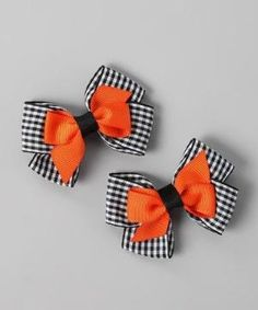 Take a look at this Black Plaid & Orange Stacked Bow Clip Set by Festive Fifi on #zulily today! by pat-75