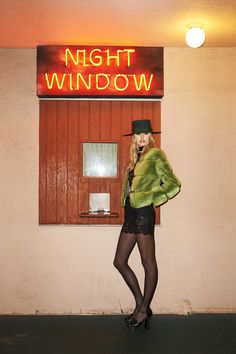HOTEL CALIFORNIA Valentino jacket, $23,000, thefursalon.com; Dolce & Gabbana dress, $3,295, and briefs, $295, 877-70-DGUSA; Saint Laurent by Hedi Slimane hat, $990, scarf, $325, and shoes $1,295, 212-980-2970; Jessie Western belt, $1,069, jessiewestern.com; Wolford tights, similar styles available at wolford.com.