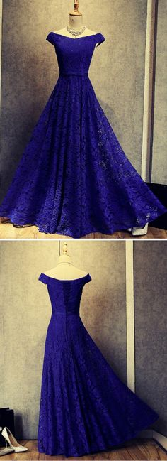 Royal blue lace V neck off shoulder long A-line evening dress #prom #dress #gowns #promdress #promdresses