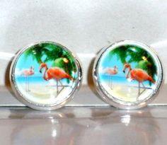 Ohrringe und Ohrstecker im Onlineshop - Verrückte Ohrringe und Schmuck Welt  - Ohrstecker Flamingo Cabochon Glas handgemacht Glas Metall Legierung Neuware