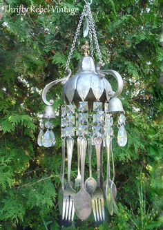 Vintage Silver Candelabra and Silverware Wind Chimes WindChimes Garden Art Yard Art by ThriftyRebelVintage on Etsy https://www.etsy.com/listing/241003231/vintage-silver-candelabra-and-silverware