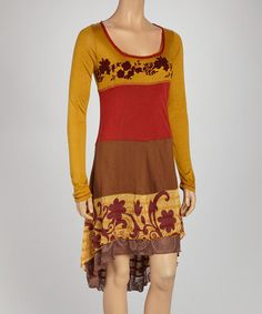 Look what I found on #zulily! Mustard Floral Color Block Hi-Low Dress #zulilyfinds
