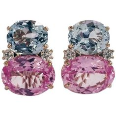 Large Gum Drop™ Earrings With Blue And Pink Topaz And Diamonds ($4,900) ❤ liked…