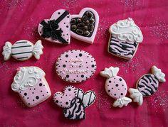 Pink and Black Valentine Cookies
