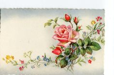 Roses and flowers vintage French Postcard by sharonfostervintage, $2.50
