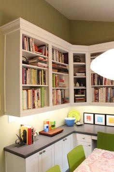 built-in desk - I like the open shelves above