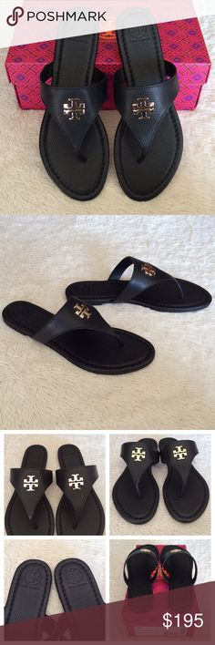 """NWT LAURA THONG SANDALS / TUMBLED LEATHER Authentic. Brand new with tags. They will come with dust bag and the box. Tory Burch Judy thong with signature medallion is sure to become your 'go to' sandal for summer. Leather upper. Leather lining and footbed.Leather sole. Strap with signature double-""""T"""" medallion on center. Slip-on style.Leather upper. Leather lining and footbed. Tory Burch Shoes Sandals"""