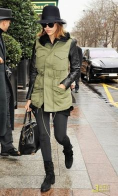 Jessica Alba wearing Viktor & Rolf Just in Case Bag in Black, Balenciaga Navajo Suede Boots in Black, Persol Po 2990s Cat Eye Sunglasses and Veda Jones Jacket in Army.