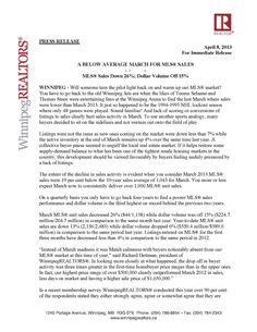 WinnipegREALTORS MLS Market Release for March 2013 By:WinnipegREALTORS®  http://v2.estatevue.com/platform/kelowna/freisguys/blog.html
