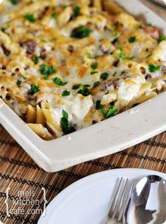 Greek Pastitsio (casserole style-use whole wheat pasta); can make-ahead and freeze