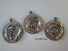 3PCS  Silver Toned  Round Flower Charms  22mm by ZARDENIA on Etsy, $3.75