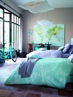 Sea Foam Blue and Green Themed Bedroom