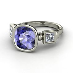 Cushion Tanzanite Platinum Ring with Diamond - Amanda Ring | Gemvara