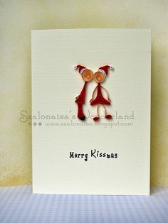 #Christmas Greeting Card - Merry Kissmas #holidaycard cute paper quilling. $7.50, via Etsy.