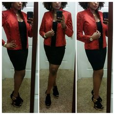 ✨SALE❗✨HP!!!Betu Red & Black Snake Jacket *This jacket is red hot, and fabulous!  It has a snakeskin designed pattern.  It has a zippered front closure, with two invisible zippered pockets in the front, and one button on the sleeve.  It's made if 97% cotton, and 3% spandex.  It would look fab with anything!  It's in excellent condition.* Betu Jackets & Coats Blazers